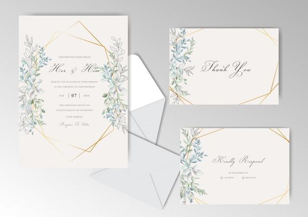 Eleganckie akwarela zaproszenia ślubne zestaw z pięknymi liśćmi Premium Wektorów