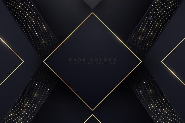 Eleganckie Ciemne Tło Ze Złotymi Detalami Premium Wektorów