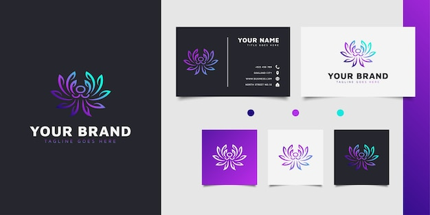 Eleganckie Kwiatowe Logo Z Wirującymi Liśćmi W Kolorowej Koncepcji Gradientu Premium Wektorów