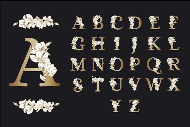 Eleganckie Kwiaty Złote Alfabet Darmowych Wektorów