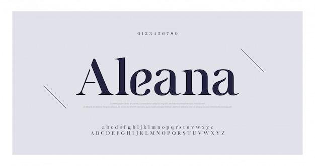 Eleganckie litery alfabetu czcionka szeryfowa i zestaw cyfr Premium Wektorów