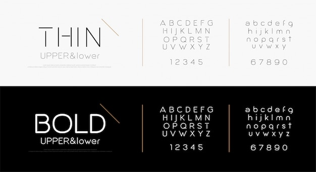 Eleganckie litery alfabetu czcionki Premium Wektorów