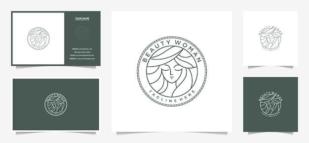 Eleganckie Logo Kobiet Ze Stylem Godła I Wizytówką Premium Wektorów