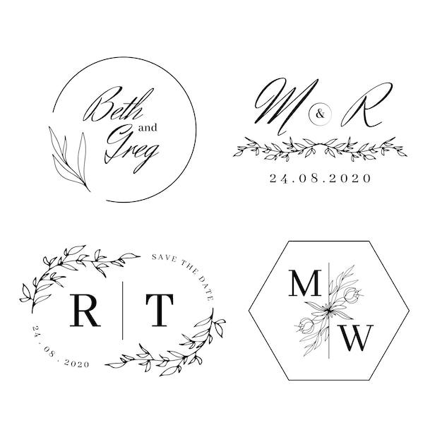 Eleganckie Monogramy ślubne Darmowych Wektorów