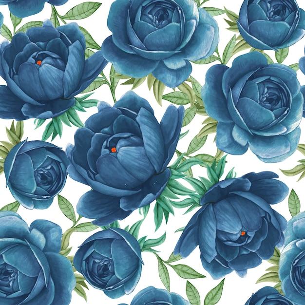 Eleganckie Piwonie Niebieski Kwiatowy Wzór Akwarela Premium Wektorów