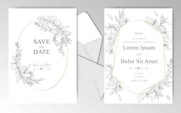 Eleganckie Ręcznie Rysowane Szablon Zaproszenia ślubne Z Pięknymi Liśćmi Premium Wektorów