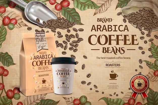 Eleganckie Reklamy Ziaren Kawy Arabica, Grawerowane Rośliny Kawowe Z Kubkiem Na Wynos I Opakowaniem Na Ilustracji Premium Wektorów