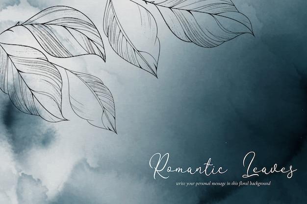 Eleganckie Tło Akwarela Z Romantycznymi Liśćmi Darmowych Wektorów