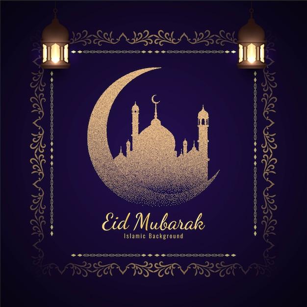 Eleganckie tło islamskiego eid mubaraka Premium Wektorów
