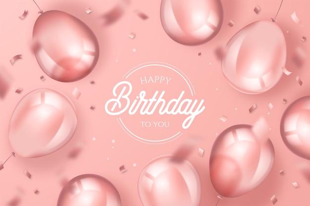 Eleganckie Tło Urodziny Z Realistycznymi Balonami Darmowych Wektorów