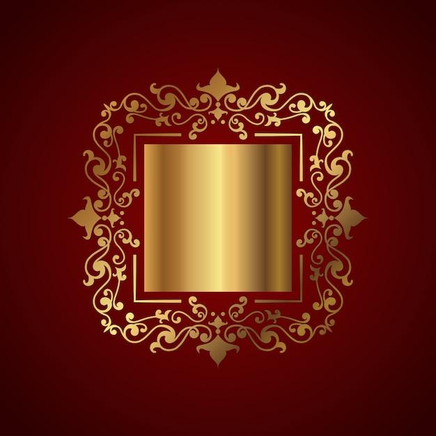 Eleganckie tło z ozdobną złotą ramą Darmowych Wektorów