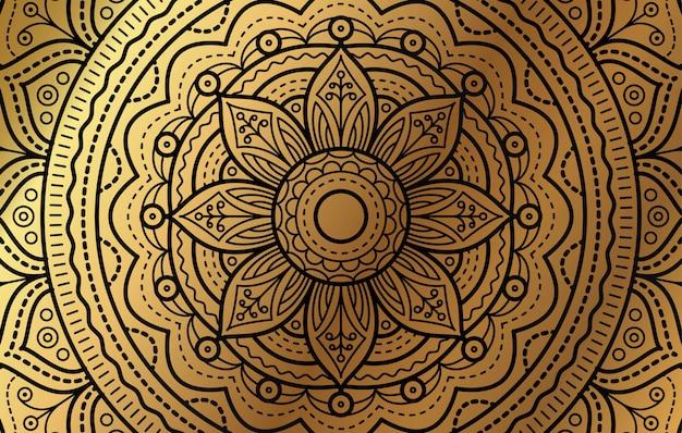 Eleganckie Tło Z Złoty Luksus Kwiatowy Wzór Premium Wektorów