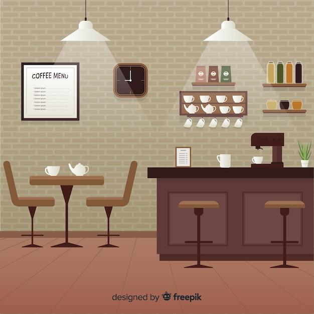 Eleganckie Wnętrze Kawiarni O Płaskiej Konstrukcji Darmowych Wektorów