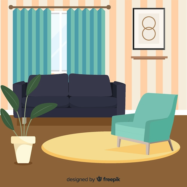 Eleganckie Wnętrze Salonu O Płaskiej Konstrukcji Darmowych Wektorów