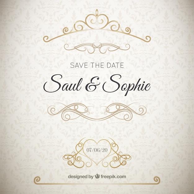 Eleganckie zaproszenie na ślub z złote ozdoby Darmowych Wektorów