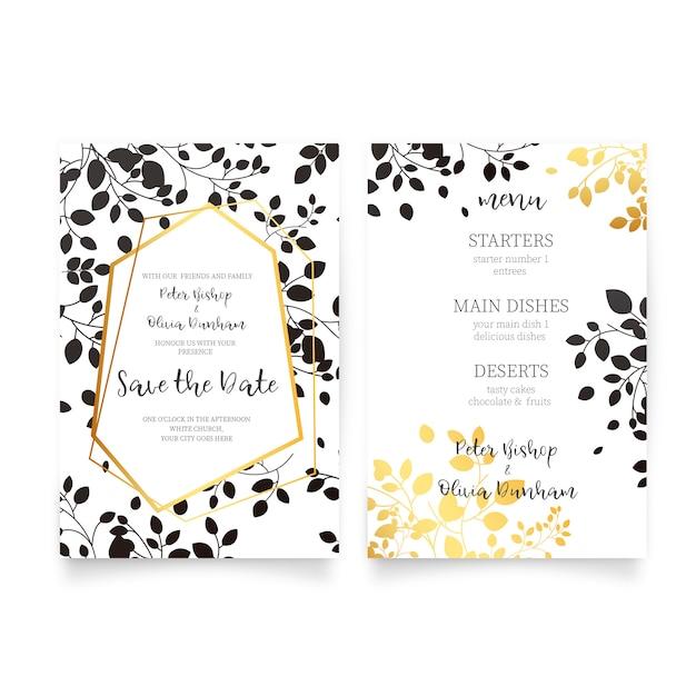 Eleganckie zaproszenie na ślub i menu ze złotymi i czarnymi liśćmi Darmowych Wektorów