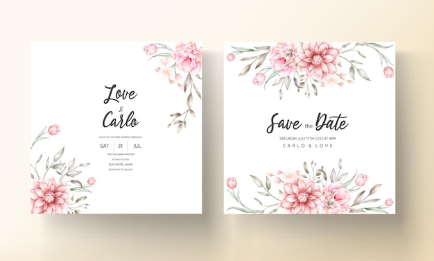 Eleganckie Zaproszenie Na ślub Z Akwarelowymi Motywami Kwiatowymi Darmowych Wektorów