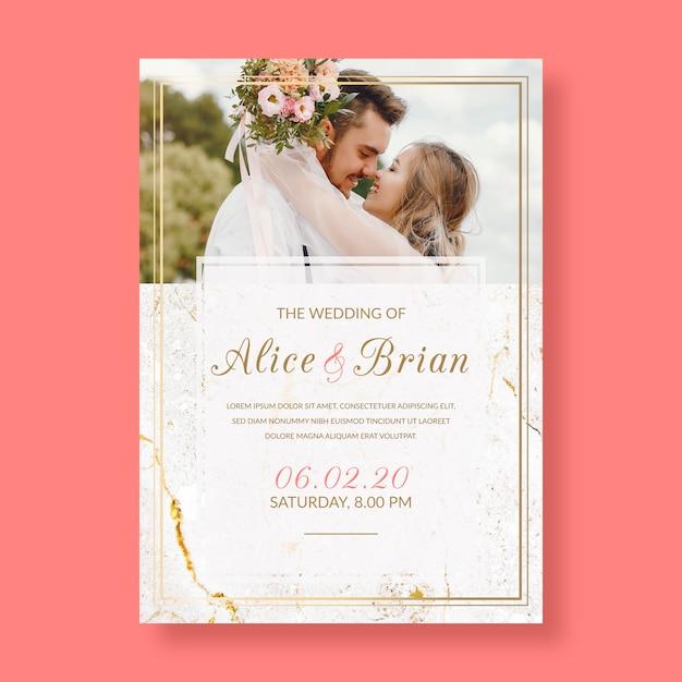 Eleganckie zaproszenie na ślub ze zdjęciem Darmowych Wektorów