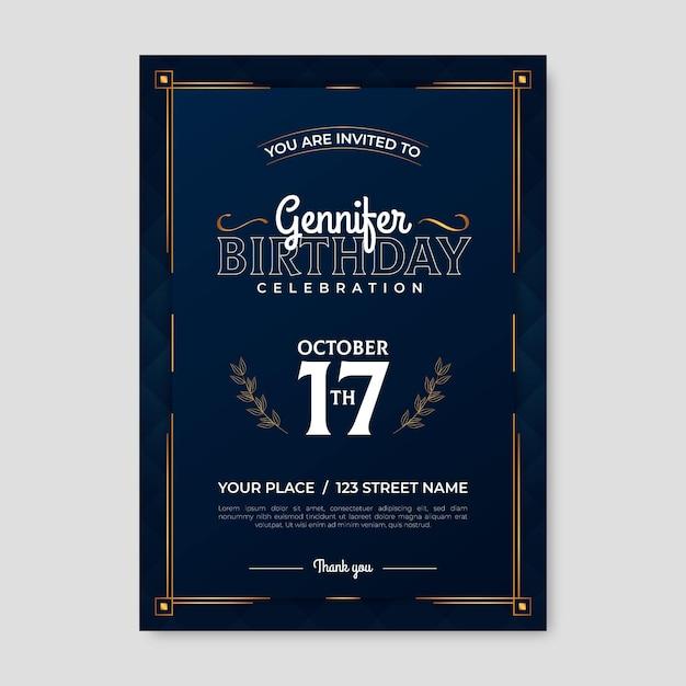 Eleganckie Zaproszenie Na Urodziny Darmowych Wektorów