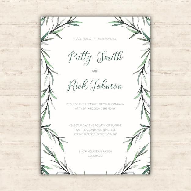 Eleganckie zaproszenie na wesele z akwarelą ilustracje botaniczne Darmowych Wektorów
