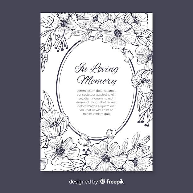 Eleganckie Zaproszenie Pogrzebowe W Stylu Kwiatowym Darmowych Wektorów