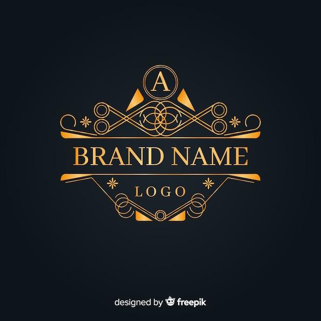 Eleganckie złote ozdobne logo Darmowych Wektorów