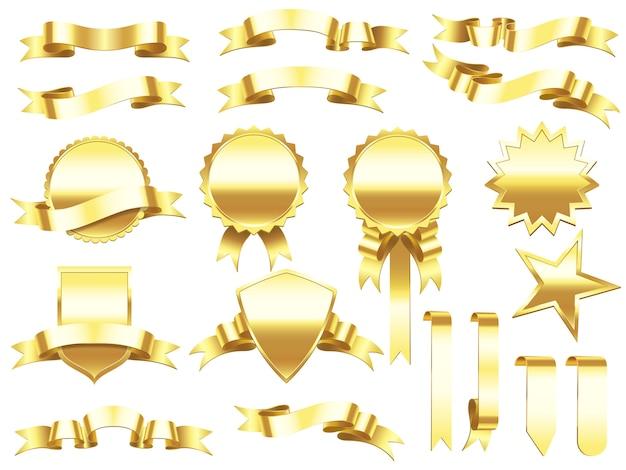 Eleganckie złote wstążki etykiety i banery produktów. Premium Wektorów