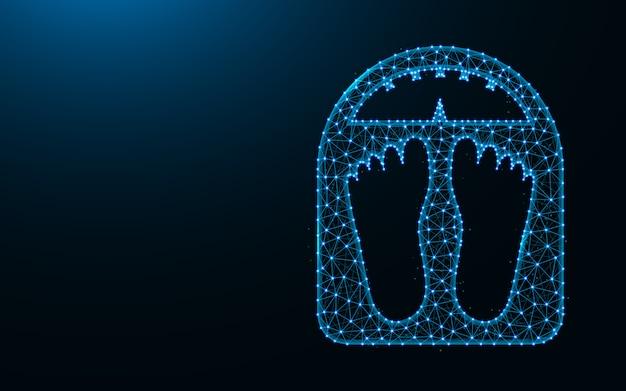 Elektroniczna Waga Wykonana Z Punktów I Linii Na Ciemnym Niebieskim Tle, Zważyć Szkielet Siatki Wielokątne Ilustracji Premium Wektorów