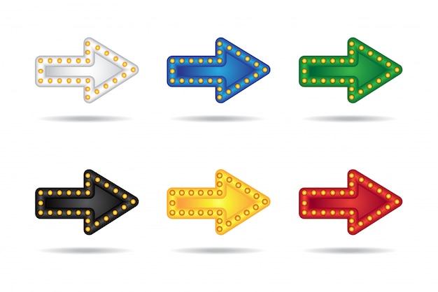 Elektroniczne świecące strzałki neon ustawić z lampami. wskaźnik słupkowy, imprezowy lub wakacyjny. Premium Wektorów