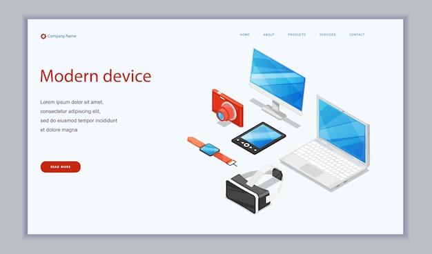 Elektroniczne urządzenia cyfrowe - aparat fotograficzny laptop, tablet, monitor i inteligentne zegary. Premium Wektorów