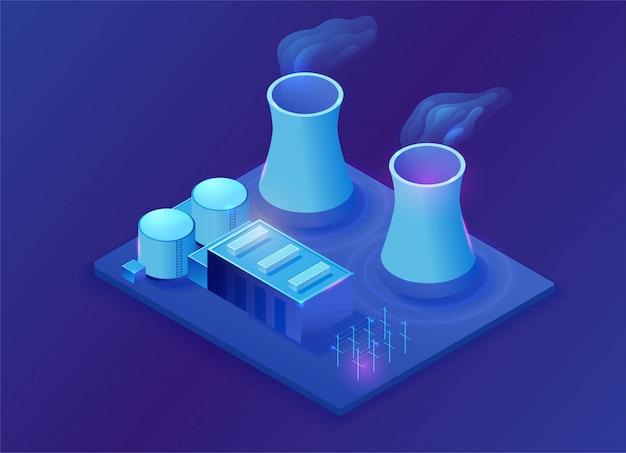 Elektrowni Jądrowej Isometric 3d Ilustracja Premium Wektorów
