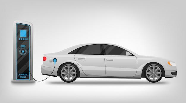 Elektryczna samochód ładuje stacja i sztandar odizolowywający na bielu Premium Wektorów