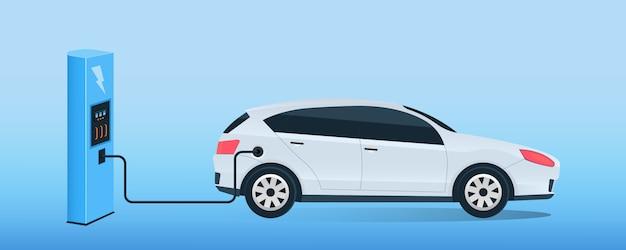 Elektryczna stacja ładowania przyszłego samochodu, e-motion. Premium Wektorów