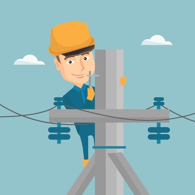 Elektryk pracuje na słupie energii elektrycznej. Premium Wektorów