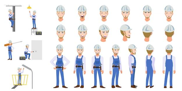 Elektryk technika pracownika zestaw postaci z kreskówek i animacji Premium Wektorów