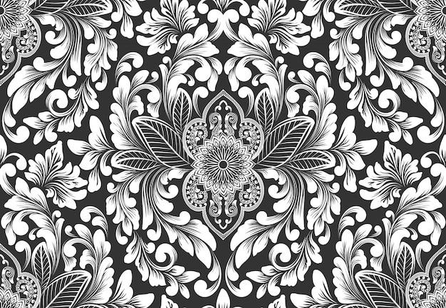 Element Adamaszku Wektor Wzór. Klasyczny Luksusowy Staromodny Ornament Adamaszku, Królewski Styl Wiktoriański Darmowych Wektorów