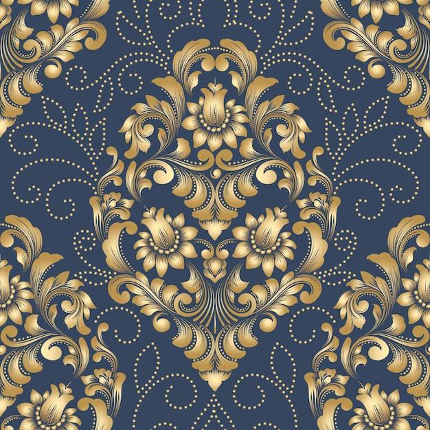 Element Adamaszku Wektor Wzór. Klasyczny Luksusowy Staromodny Ornament Damasceński, Królewskie Wiktoriańskie Bezszwowe Tapety Darmowych Wektorów