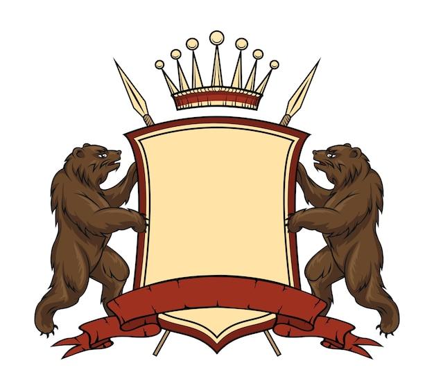 Element Heraldycznego Logo. Niedźwiedzie Z Tarczą I Wstążką. Darmowych Wektorów