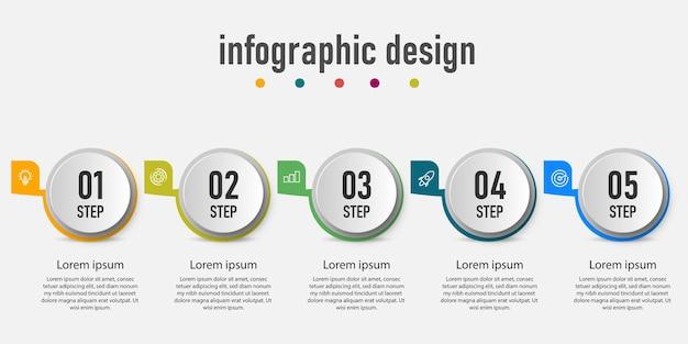 Element Infografiki Koło Biznes Graficzny Diagram, Oś Czasu Z 5 Krokami Premium Wektorów