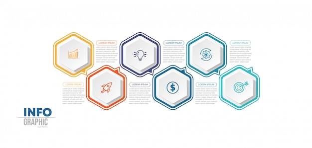 Element infografiki z 6 opcjami lub krokami. może być stosowany do przetwarzania, prezentacji, schematu, układu przepływu pracy, wykresu informacji, projektowania stron internetowych. Premium Wektorów