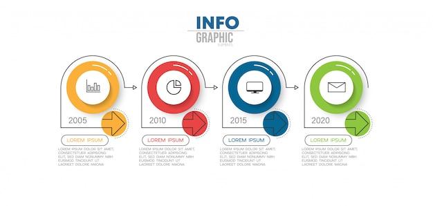 Element infographic z ikonami i 4 opcjami lub krokami Premium Wektorów