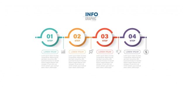 Element Infographic Z Ikonami I 4 Opcjami Lub Krokami. Premium Wektorów
