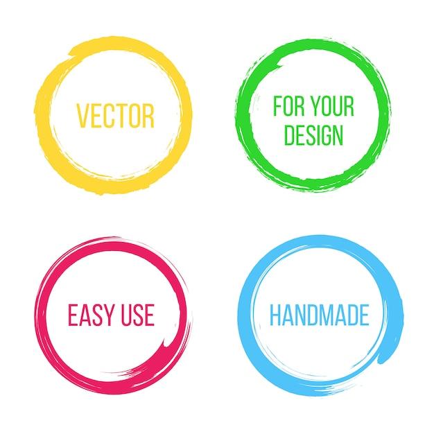 Element pędzla ręcznie rysowane koło farby. Premium Wektorów