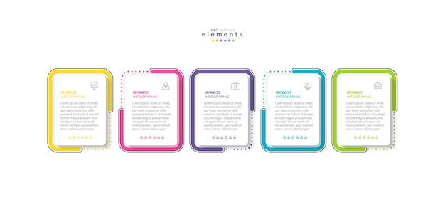 Element Plansza Z Ikonami I 5 Opcjami Lub Krokami. Premium Wektorów
