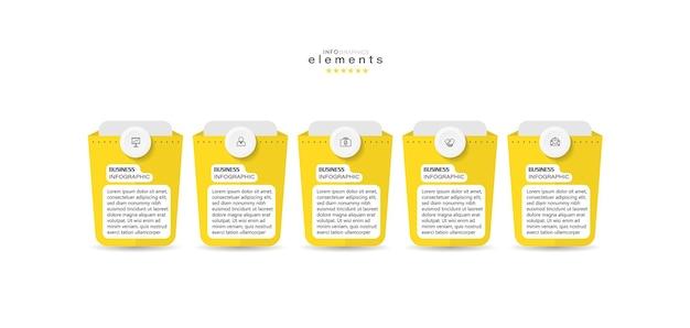 Element Plansza Z Ikonami I 5 Opcjami Lub Krokami Premium Wektorów