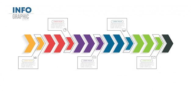 Element plansza z ikonami i 5 opcji lub kroków Premium Wektorów