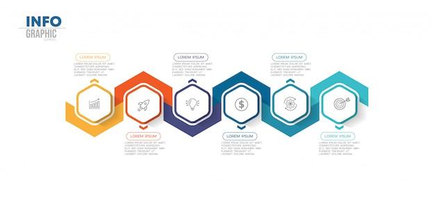 Element plansza z ikonami i 6 opcji lub kroków Premium Wektorów