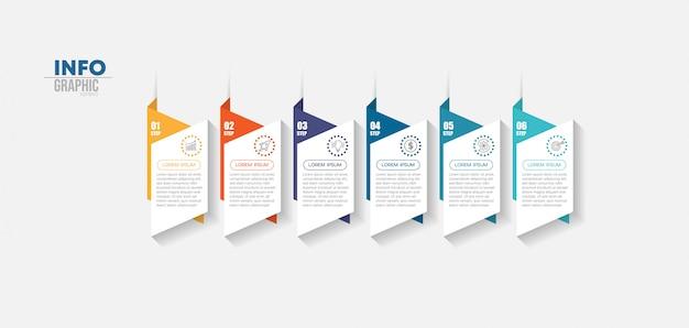 Element Plansza Z Ikonami I 6 Opcji Lub Kroków. Premium Wektorów