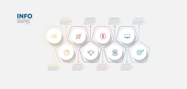 Element Plansza Z Ikonami I 8 Opcji Lub Kroków. Może Być Używany Do Przetwarzania, Prezentacji, Schematu, Układu Przepływu Pracy, Wykresu Informacji, Projektowania Stron Internetowych. Premium Wektorów