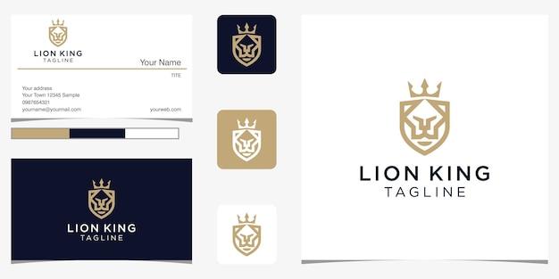 Element Projektu Logo Króla Lwa łączy W Sobie Tarczę Premium Wektorów